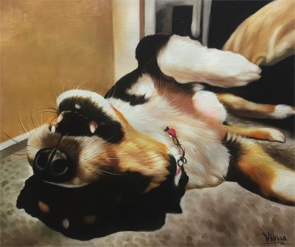 dog canvas painting of a happy dog on its back
