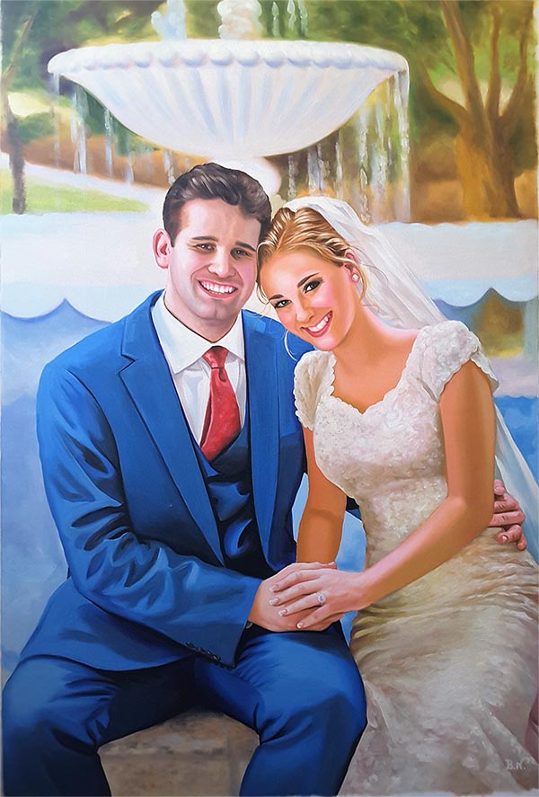 an oil painting of the bride and groom hugging