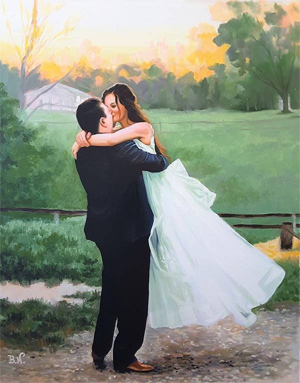 an oil painting of a wedding park field