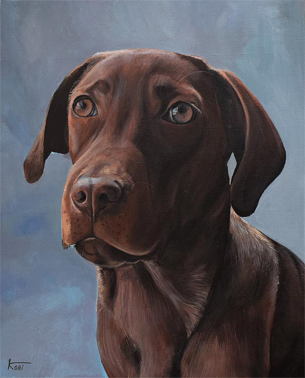 custom acrylic painting of beautiful chocolate brown dog