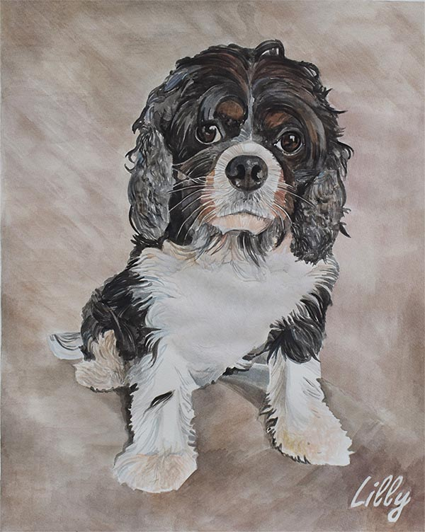 custom watercolor painting of curly haired puppy