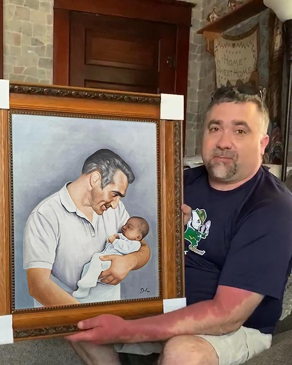 Custom acrylic painting of an elder man holding a baby