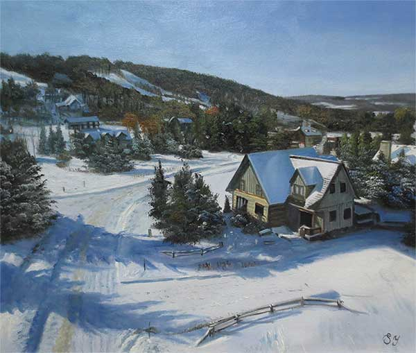an oil painting of a house in a winter