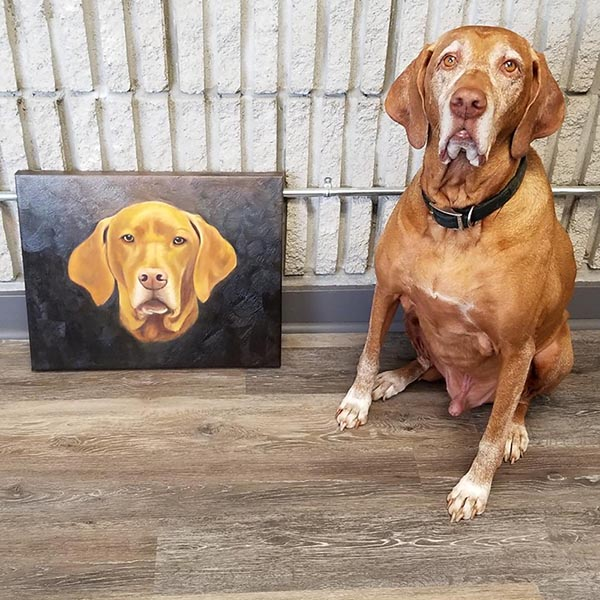 an oil painting of a dog