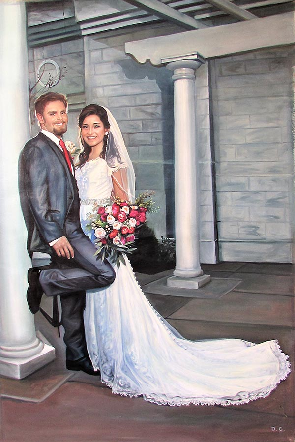 an oil painting of a wedding couple