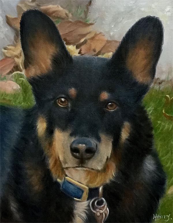 an oil painting of a brown black dog
