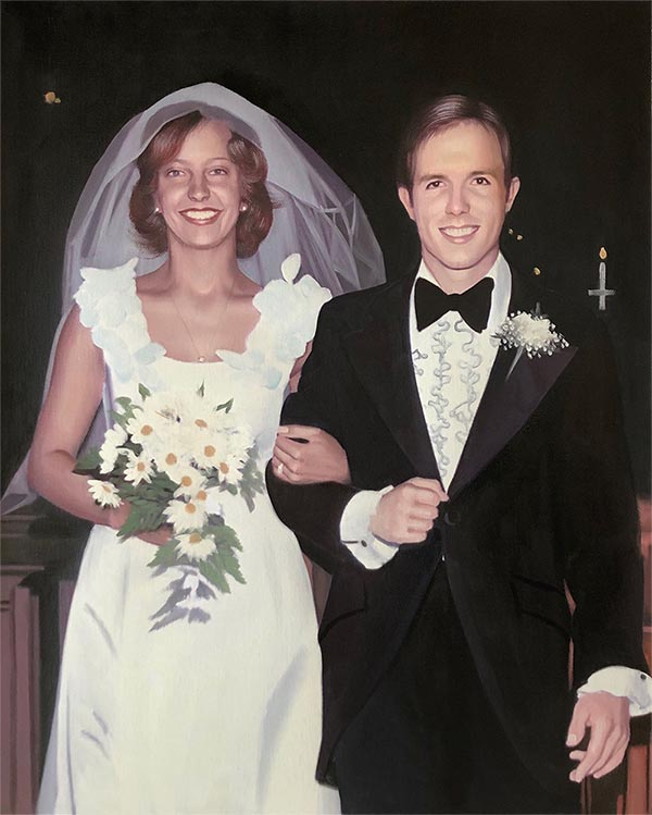 an oil painting of groom and bride old vintage