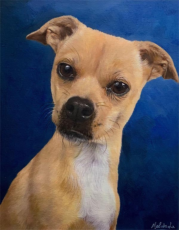 an oil painting of a dog blue dark background