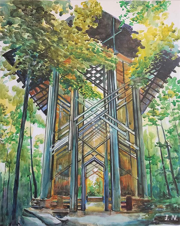 a watercolor painting of an artistic arch in the woods