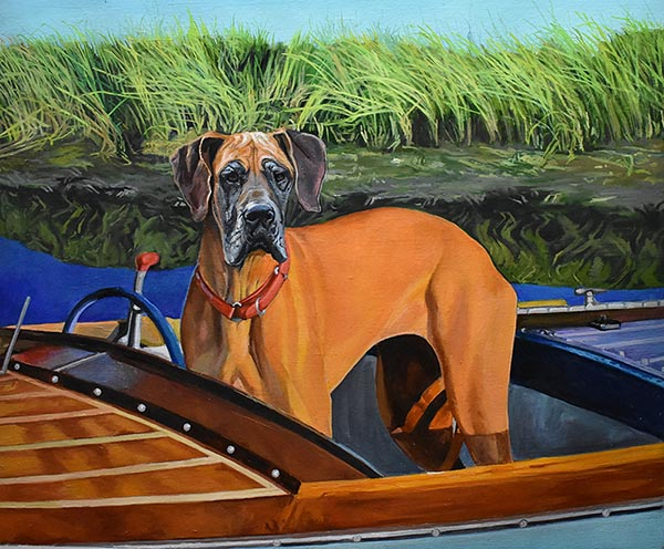 an oil painting of a dog in a boat