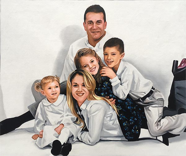 an oil painting of a happy family