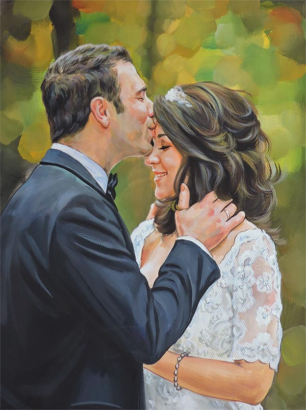 a pastel painting of a couple wedding kiss  photo to painting online