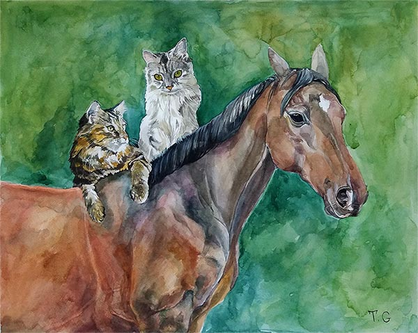 custom watercolor painting of a horse with two cats