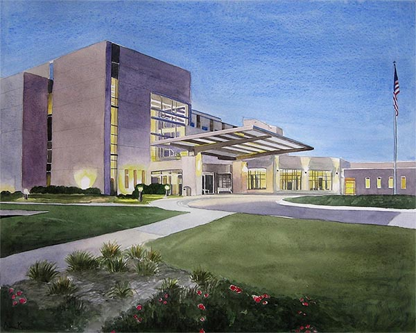 a watercolor painting of a hospital