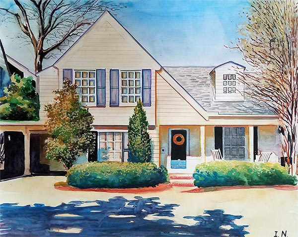 a watercolor painting of a house turn photo into art canvas