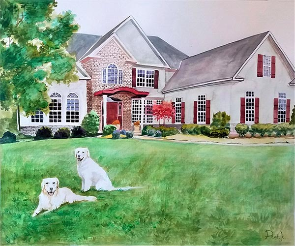 a watercolor painting of a house and dogs in the yard turn photos into painting