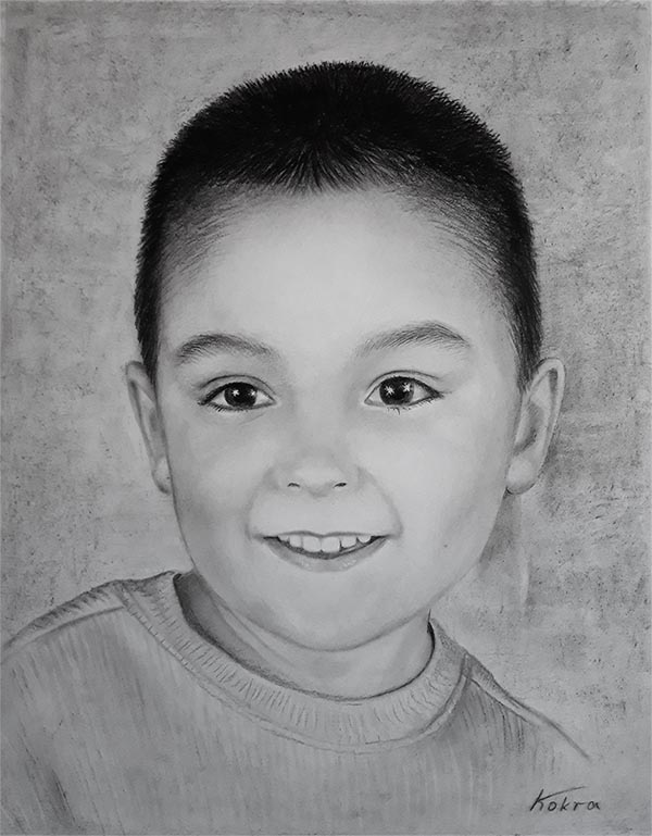 a charcoal painting of a kid boy child turn into art photos
