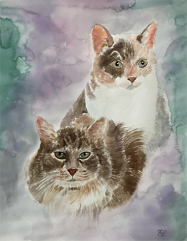 a watercolor painting of cats photo to painting