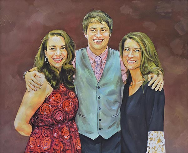 a pastel painting of a family art on canvas