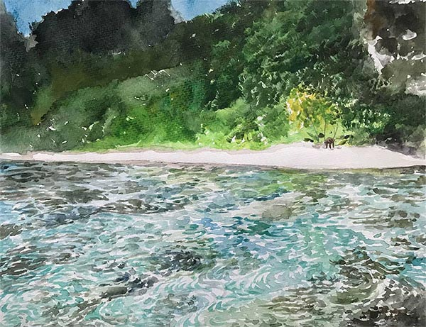 a watercolor painting of a tropical beach