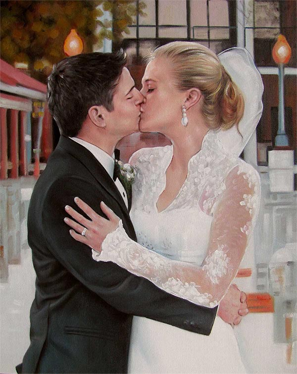 an oil painting of a couple at the wedding kissing