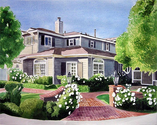 a watercolor painting of a house turn your photo into art canvas