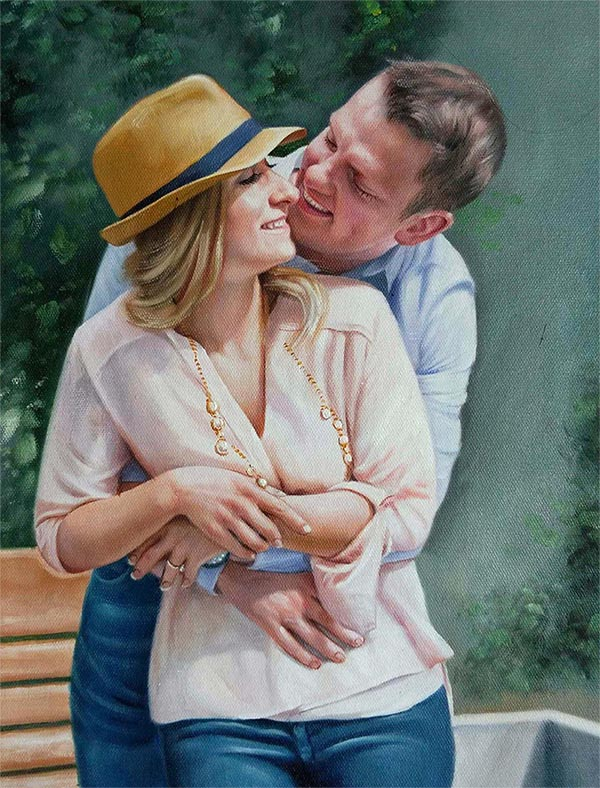 an oil painting of a couple hugging