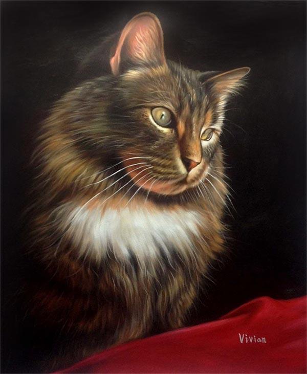 custom oil painting of a beautiful cat