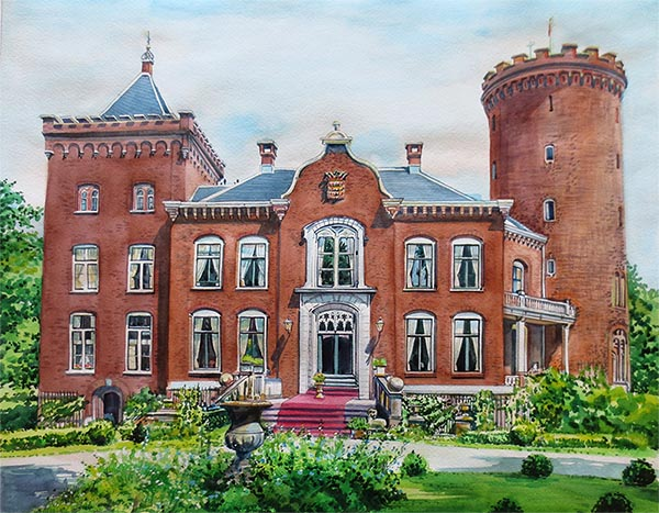 custom watercolor painting Sterkenburg castle in Driebergen