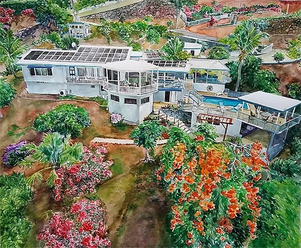 arte en acuarela, paisaje, casas