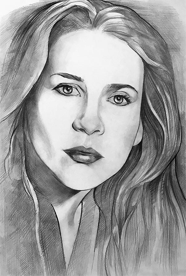 custom pencil portrait of a woman with long hair