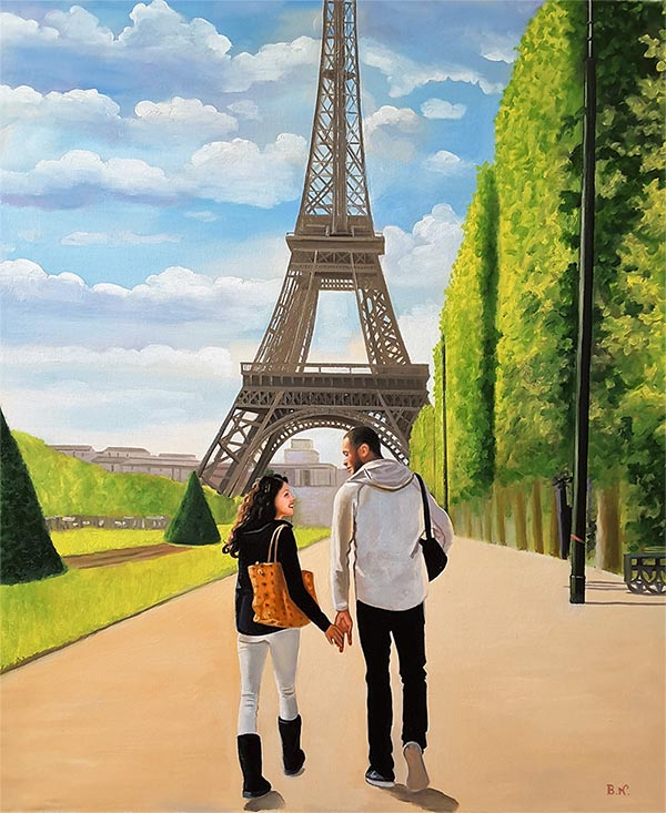 photo to painting of couple holding hands by Eiffel Tower