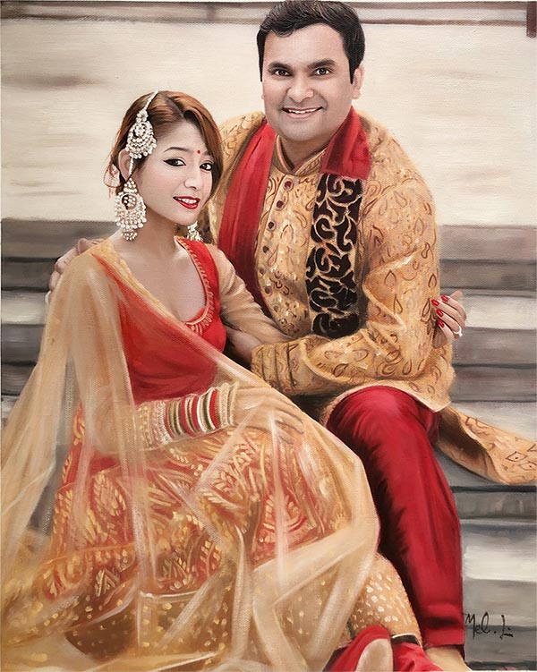 picture to painting of happy Indian couplle