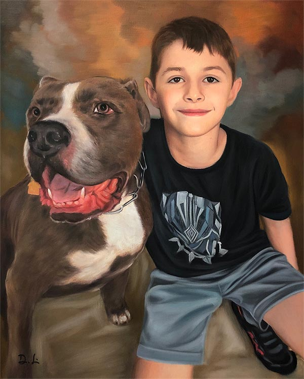 custom oil painting of dog and child