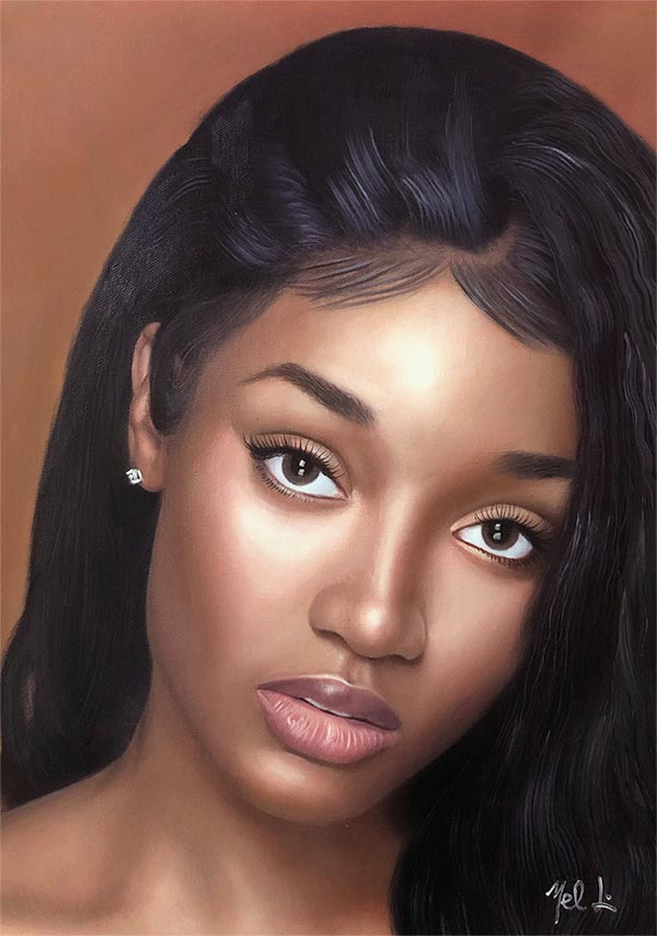 a custom oil paiunting of a beautiful young black woman
