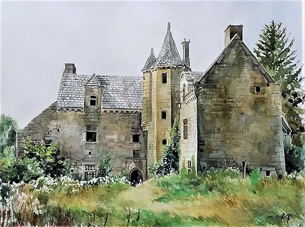 custom watercolor painting of an abandoned castle