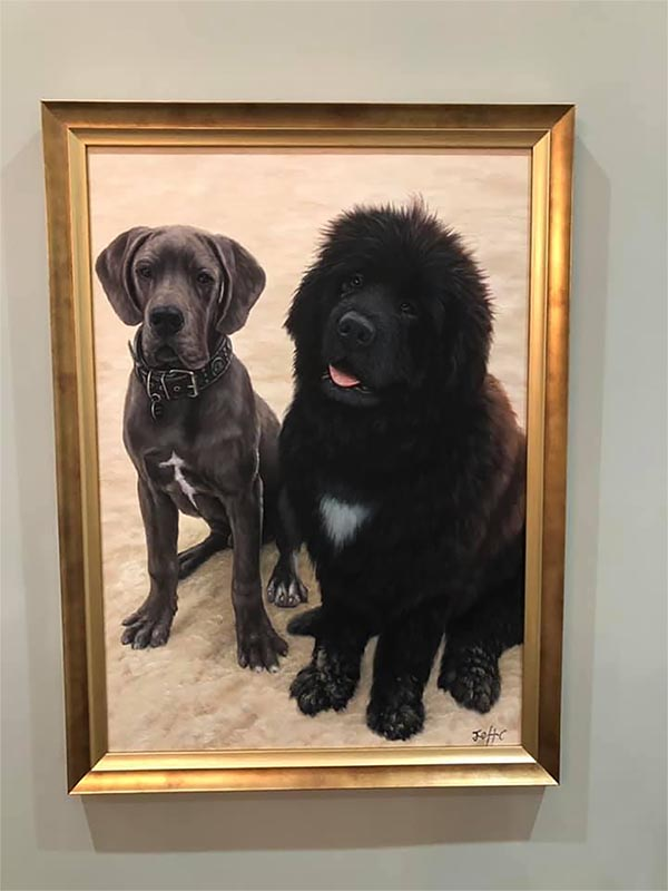 a custom oil painting of skinny and furry dogs