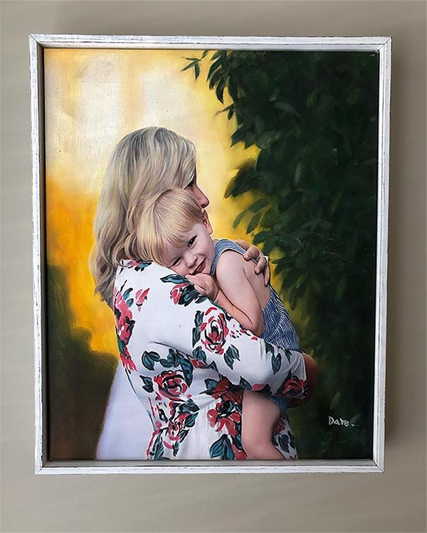 an oil painting of a mother holding her boy
