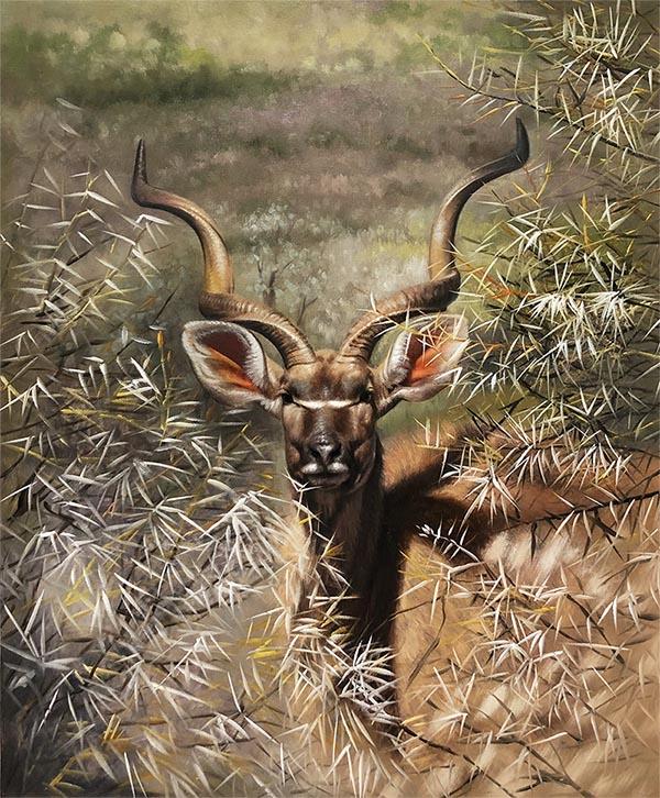 custom acrylic painting of antelope in wild