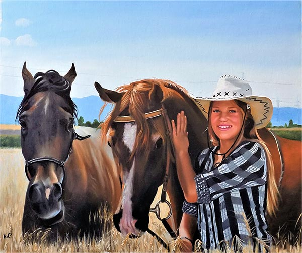 photo to oil painting two horses and girl with cowboy hat