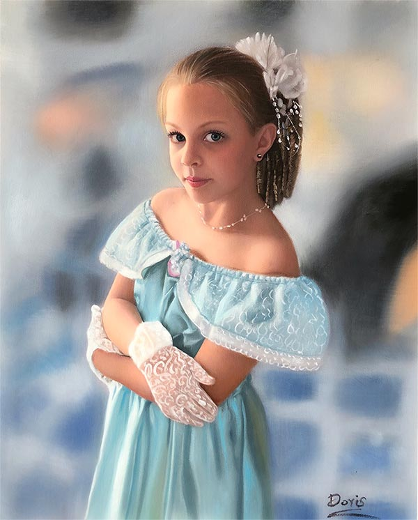 an oil painting of a young girl in a light bleu dress