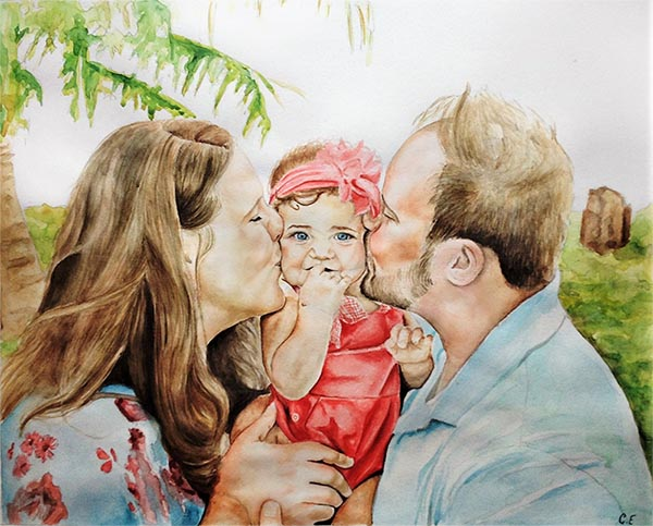 custom watercolor painting of parents kissing cheeks of baby