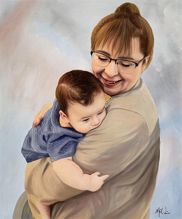 a custom oil portrait of grandmother holding a child