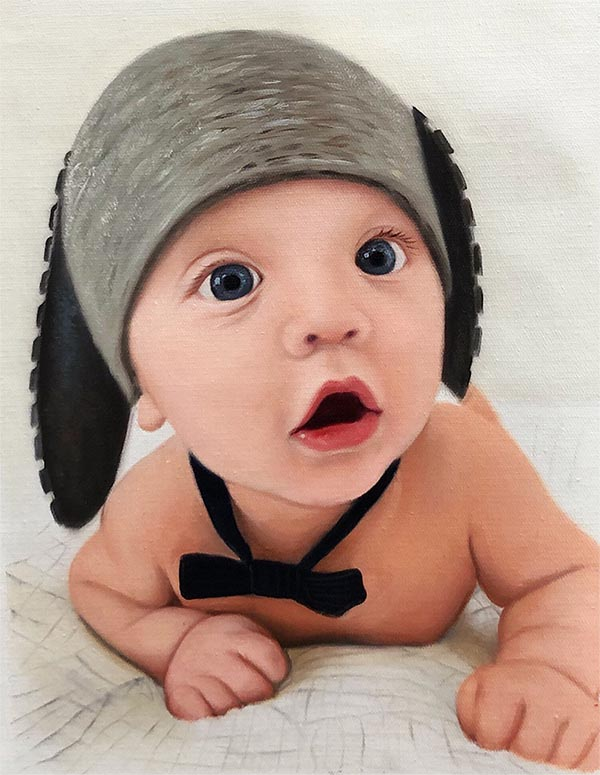 an oil painting of a child wearing a goofy hat