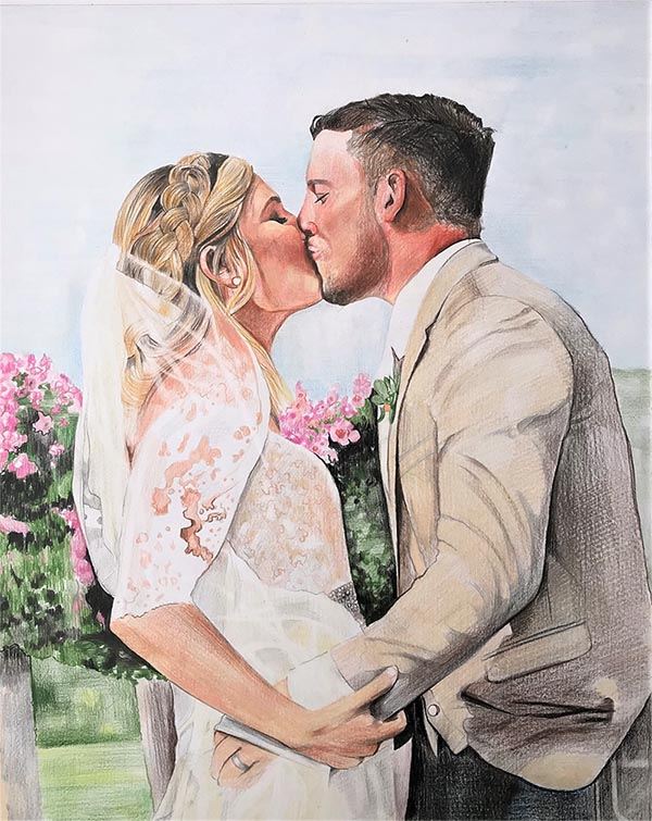 custom colored pencil drawing of bride and grooms first kiss