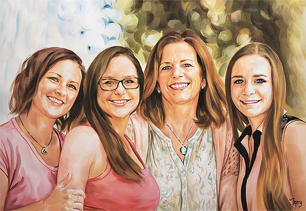 pastel portrait of family