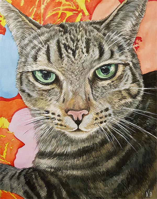 custom watercolor painting of grey cat with green eyes
