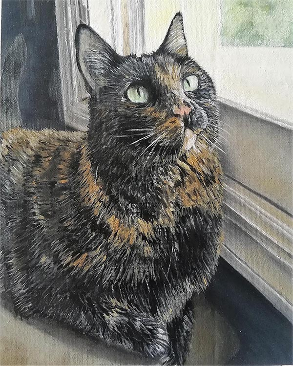 an oil painting of a brown black cat