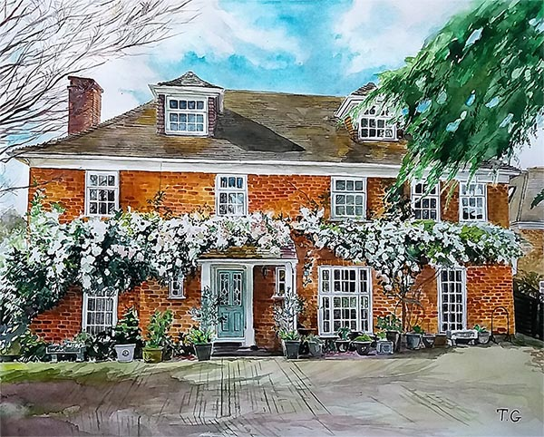 custom watercolor painting of brick house with white flowers