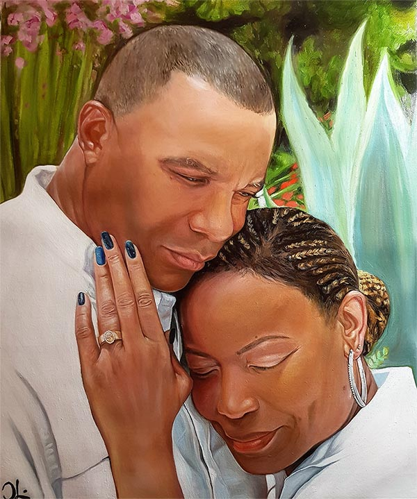 an oil painintg of black coule hugging